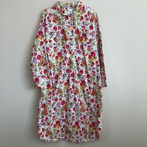 Lands' End Floral Print Flannel Nightgown